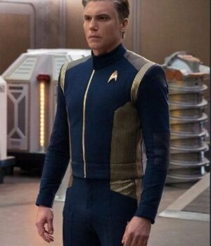 Star Trek Discovery Anson Mount Blue Leather Jacket