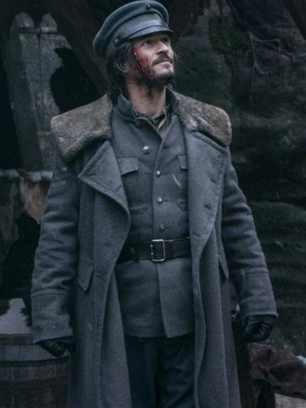 Orlando Bloom Carnival Row Wool Grey Trench Coat