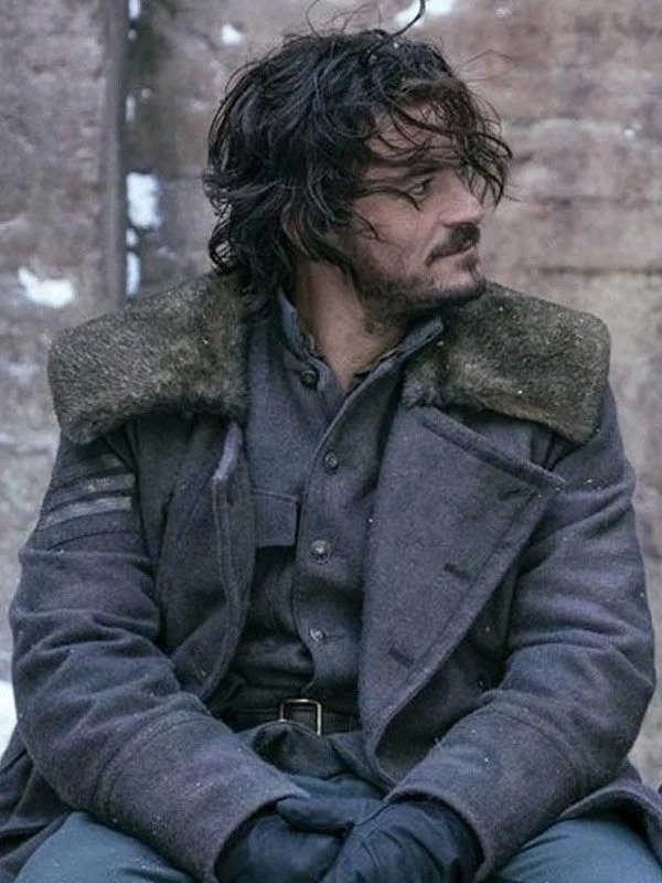 Orlando Bloom Carnival Row TV Series Grey Trench Coat