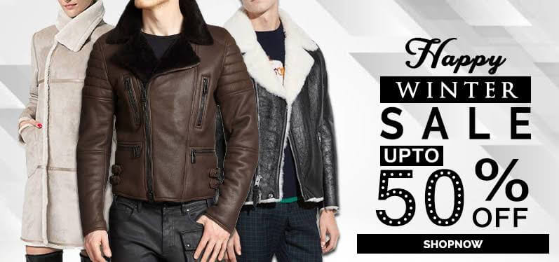 Leather jacket black Winter jacket banner