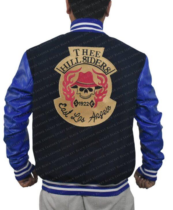 Mens Suicide Squad El Diablo Varsity Blue Wool Jacket with Faux Leather Sleeves Back