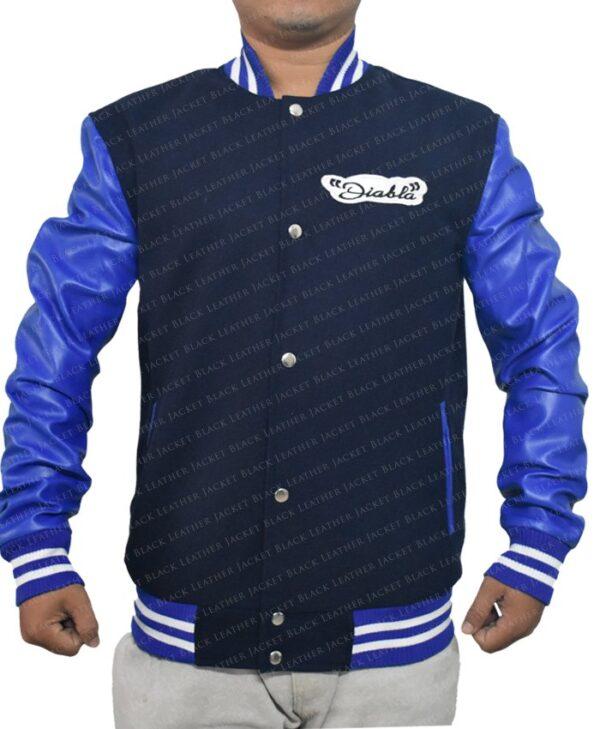 Mens Suicide Squad El Diablo Varsity Blue Wool Jacket with Faux Leather Sleeves Sleeves