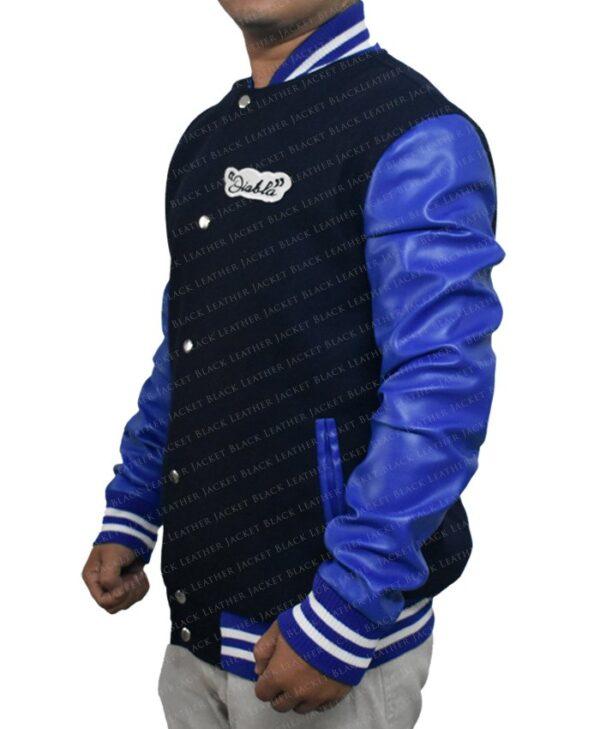 Mens Suicide Squad El Diablo Varsity Blue Wool Jacket with Faux Leather Sleeves left side