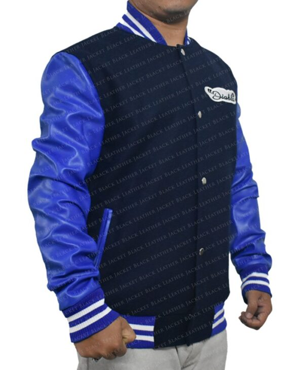 Mens Suicide Squad El Diablo Varsity Blue Wool Jacket with Faux Leather Sleeves right side