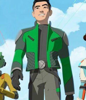 Kazuda Xiono Star Wars Resistance Green Leather Jacket