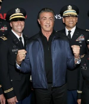 Sylvester Stallone Rambo Premiere Black Leather Jacket