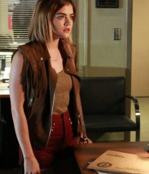 Lucy Hale Pretty Little Liars Brown Leather Vest