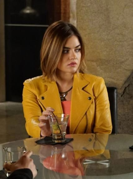 Lucy Hale Yellow Leather Jacket