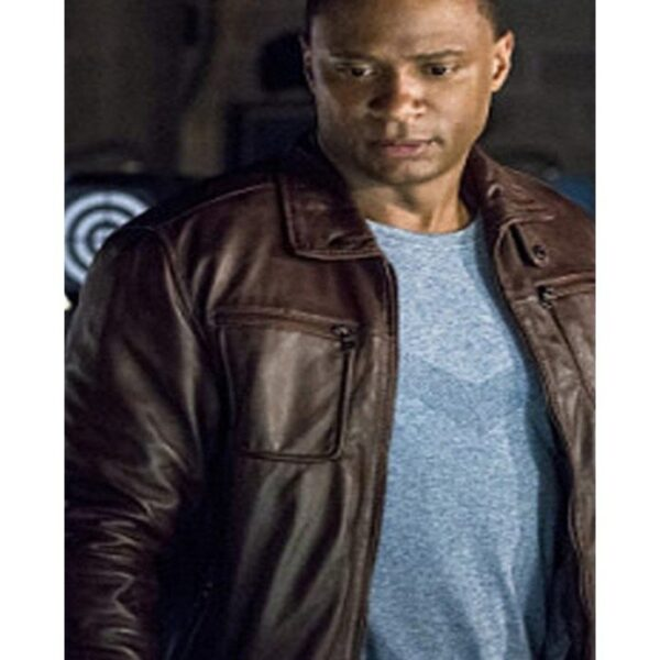 S04 John Diggle Arrow Brown Leather Jacket