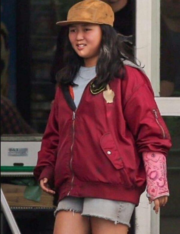 Birds of Prey Ella Jay Basco Red Hooded Bomber Jacket
