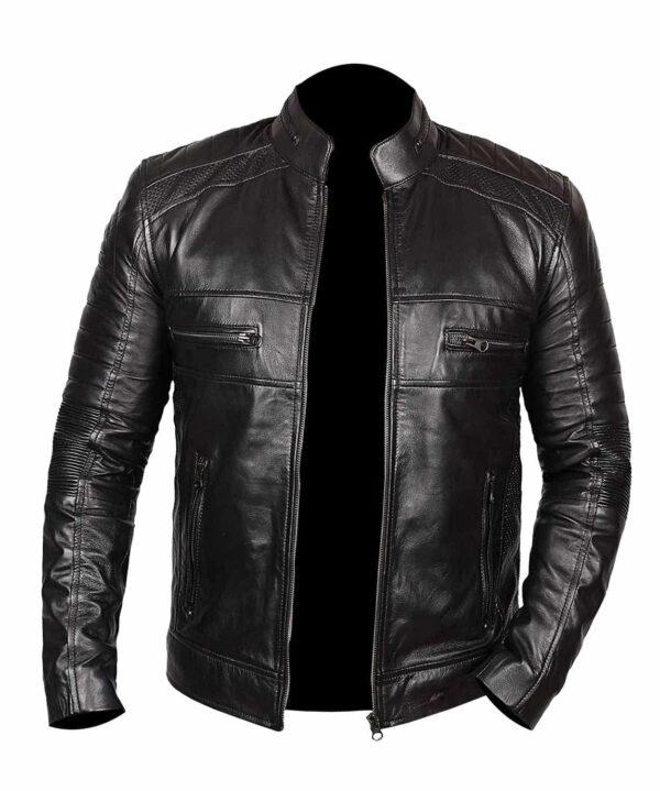 Black Johnson Men Black Leather Jacket