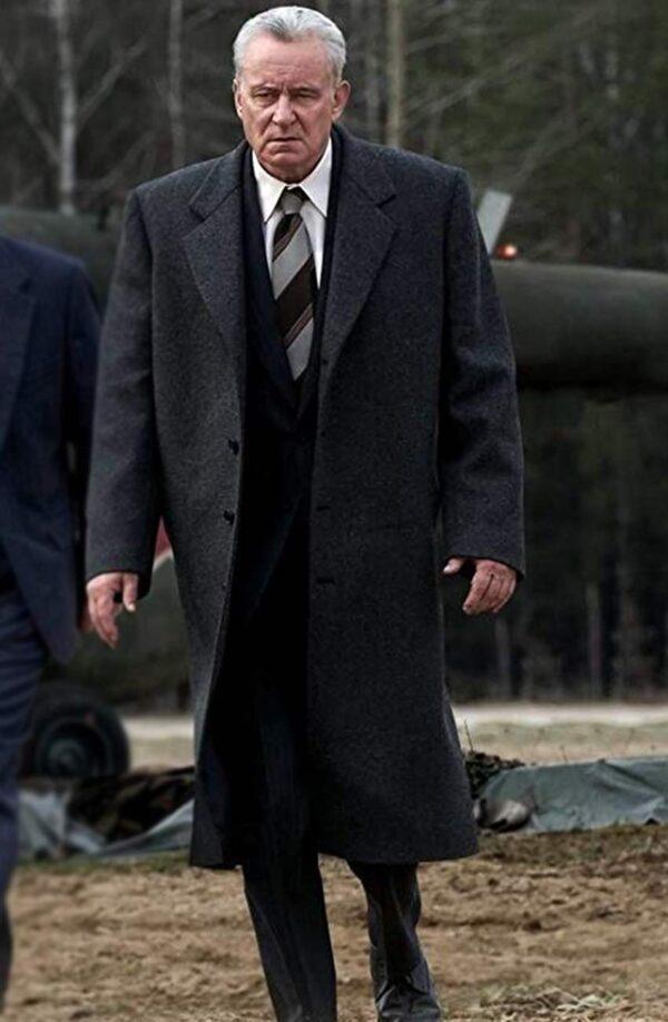 Stellan Skarsgård Black Trench Wool Coat