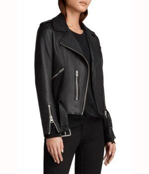 Sydney Park Black Leather Biker Jacket