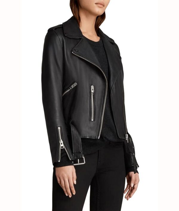 Sydney Park Black Leather Biker Jacket