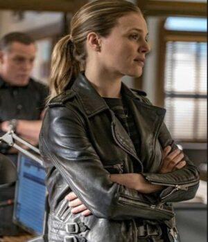 Chicago PD Tracy Spiridakos Black Biker Leather Jacket