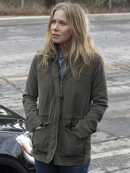 Jen Harding Tv Series Dead to Me Christina Applegate Green Cotton Jacket