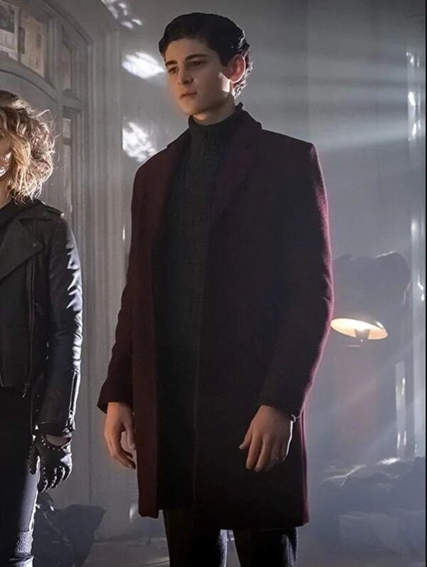 Gotham David Mazouz Maroon Coat