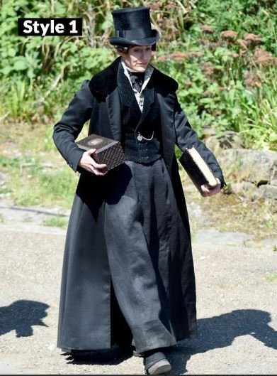 Gentleman Jack Suranne Jones Long Black Cotton Coat