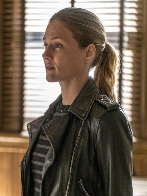 Tracy Spiridakos Black Leather Biker Jacket