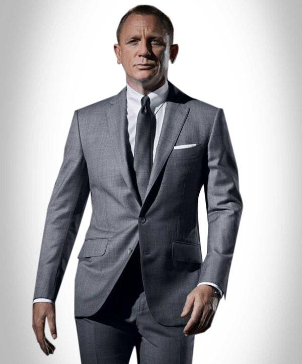 Daniel Craig Skyfall Grey James Bond Grey Wool Suit