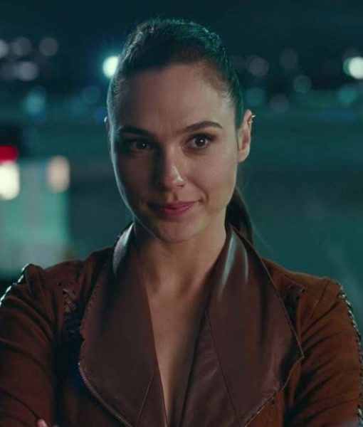 Justice League Gal Gadot Suede Brown Leather Jacket
