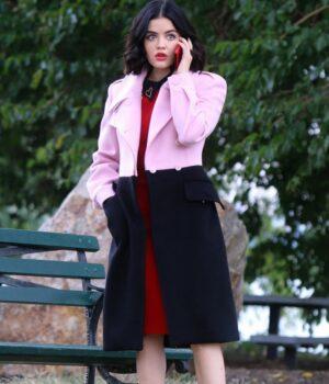 Lucy Hale Katy Keene Pink and Black Coat