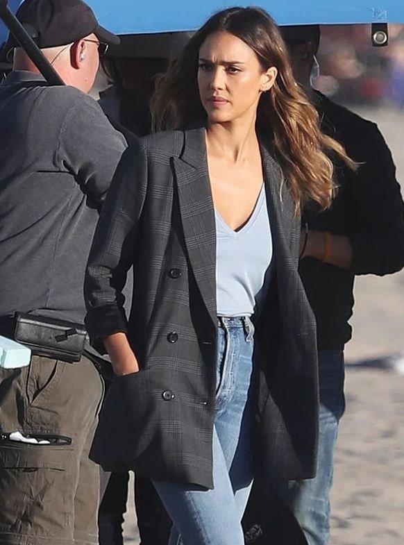 Nancy McKenna L.A.'s Finest Grey Blazer Coat
