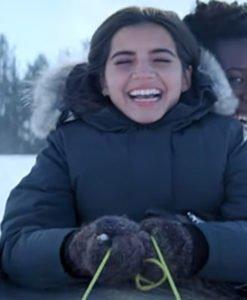 Isabela Merced Let It Snow Grey Coat