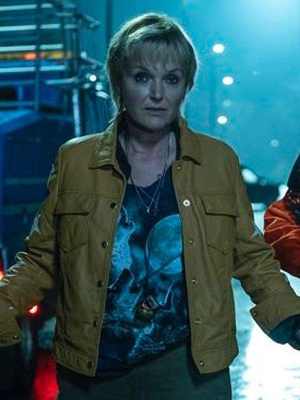 Miranda Richardson Yellow Leather Jacket