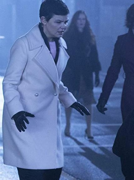 Ginnifer Goodwin White Leather Trench Coat