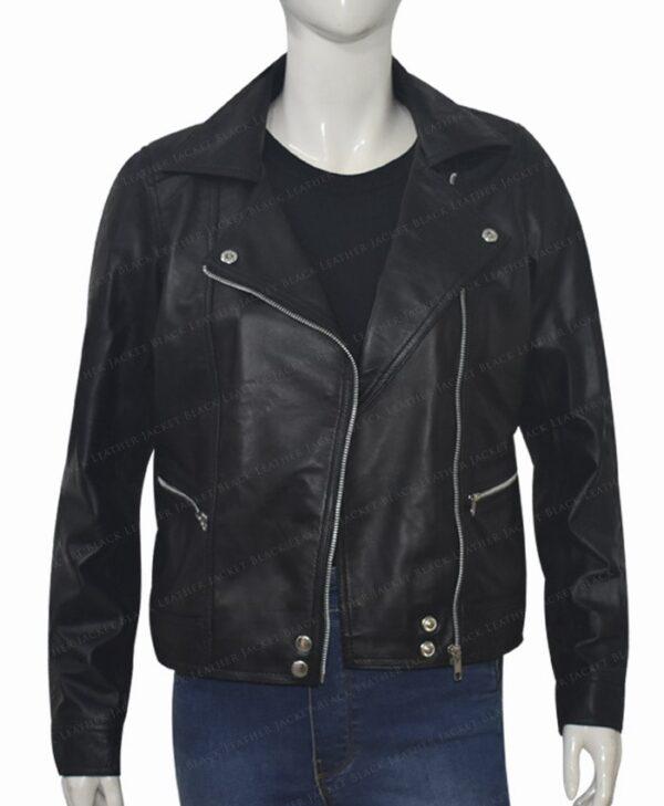 Michaela Stone Manifest Leather Jacket Unzipped