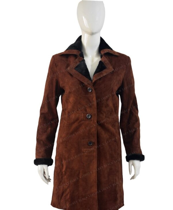 Monica Dutton Yellowstone Brown Coat Front