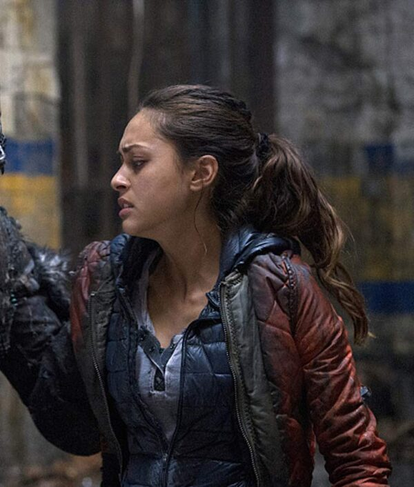 The 100 Raven Reyes Satin Red Jacket