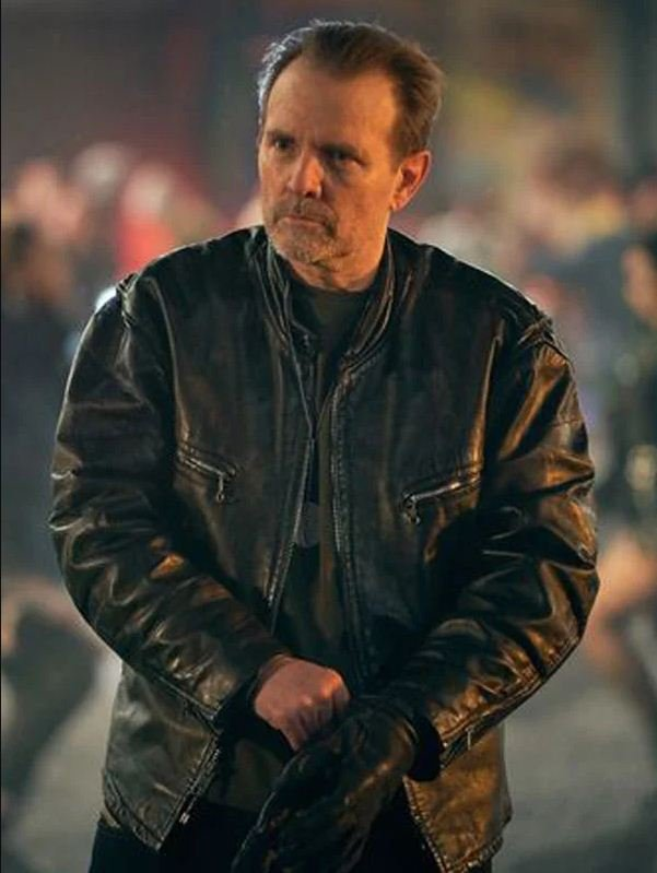 Michael Biehn Curfew Black Leather Biker Jacket