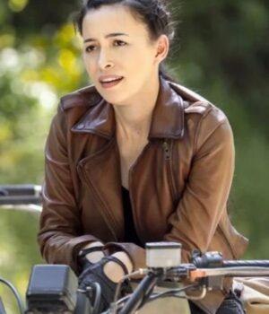 Christian Serratos Brown Leather Biker Jacket