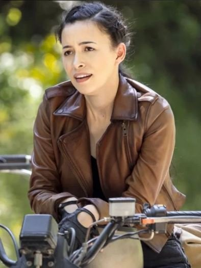 Christian Serratos Brown Leather Biker Jacket