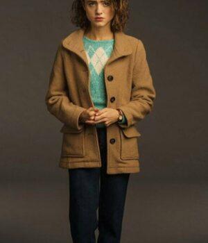 Stranger Things 3 Natalia Dyer Brown Wool Jacket