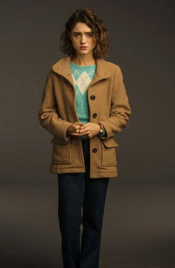 Stranger Things 3 Natalia Dyer Brown Wool Jacket