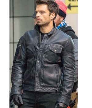 The Falcon And The Winter Soldier Sebastian Stan Black Leather Jacket