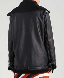 Aviator Women Shearling Leather Black Jacket