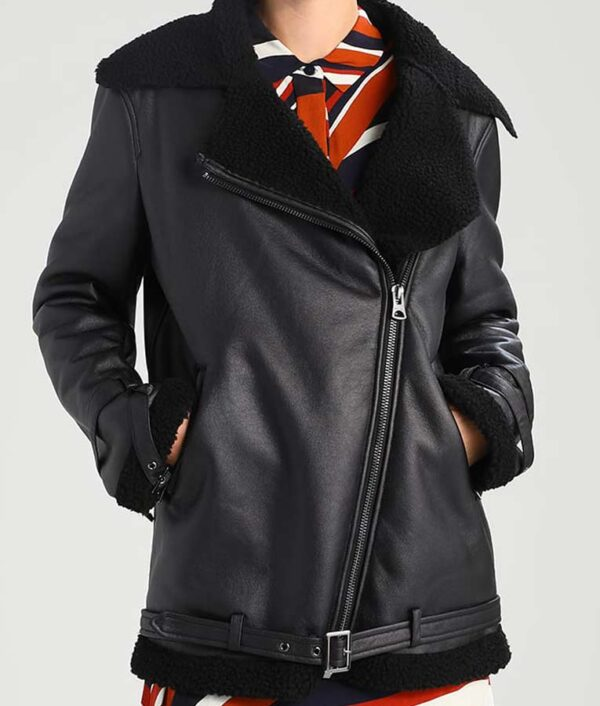 Aviator Womens Shearling Leather Jacket