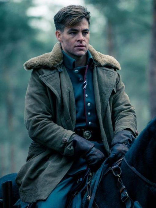 Wonder Woman Chris Pine Shearling Coat