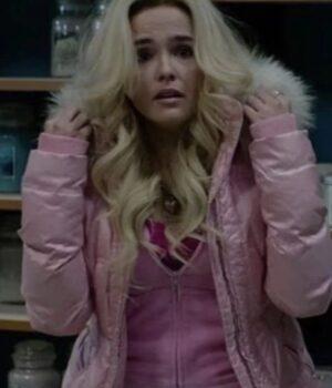 Zoey Deutch Zombieland Double Tap Pink Puffer Jacket