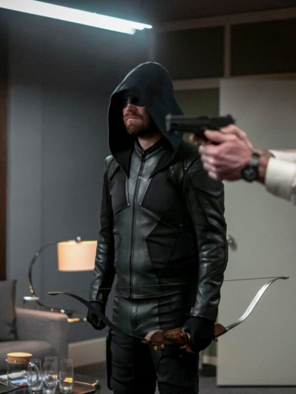 Oliver Queen Leather hooded Green Jacket