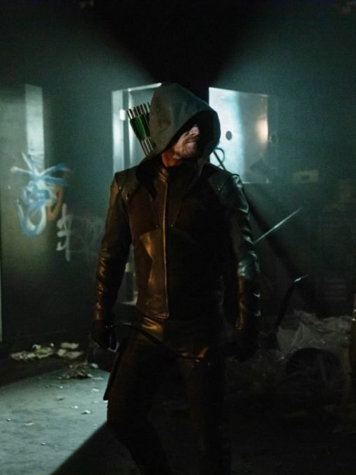 Oliver Queen Green Leather hooded Jacket