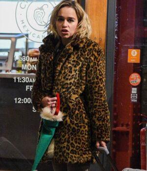 Last Christmas Emilia Clarke Animal Printed Coat