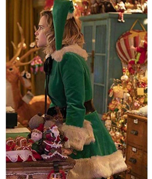 Last Christmas Emilia Clarke Green Fur Jacket
