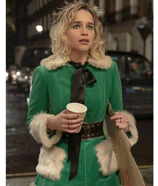Last Christmas Emilia Clarke Green Velvet Jacket with Fur Collar