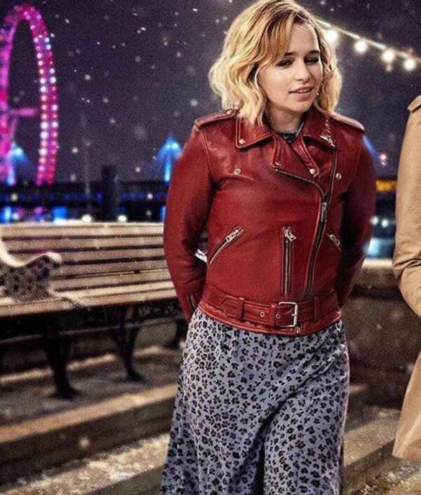 Emilia Clarke Leather Red Jacket