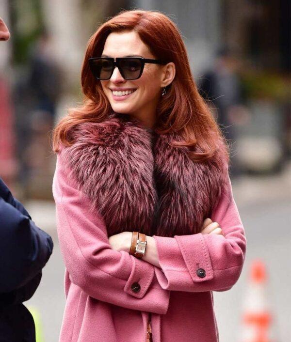Anne Hathaway Pink Fur Coat